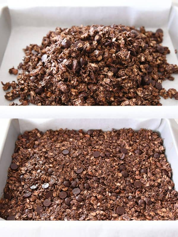 pressing dark chocolate brownie granola bars into 9X13-inch pan