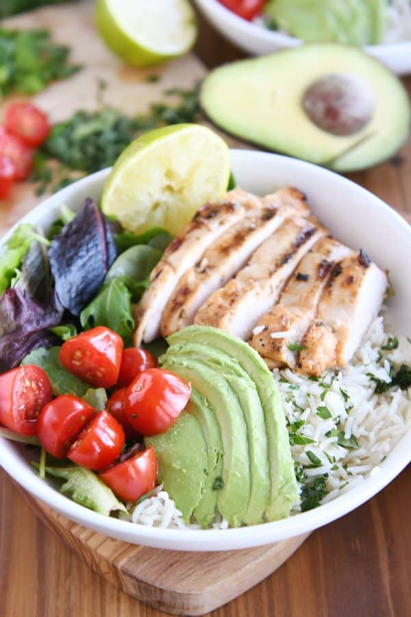 honey chipotle lime chicken in white bowl