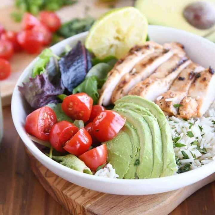 honey lime chipotle chicken in white bowl