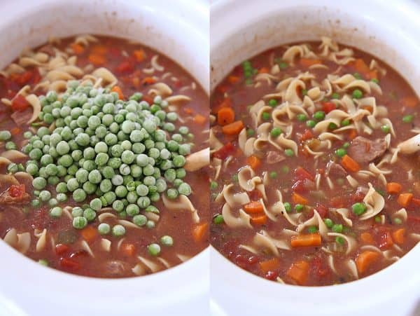 adding frozen peas to slow cooker beef vegetable noodle soup