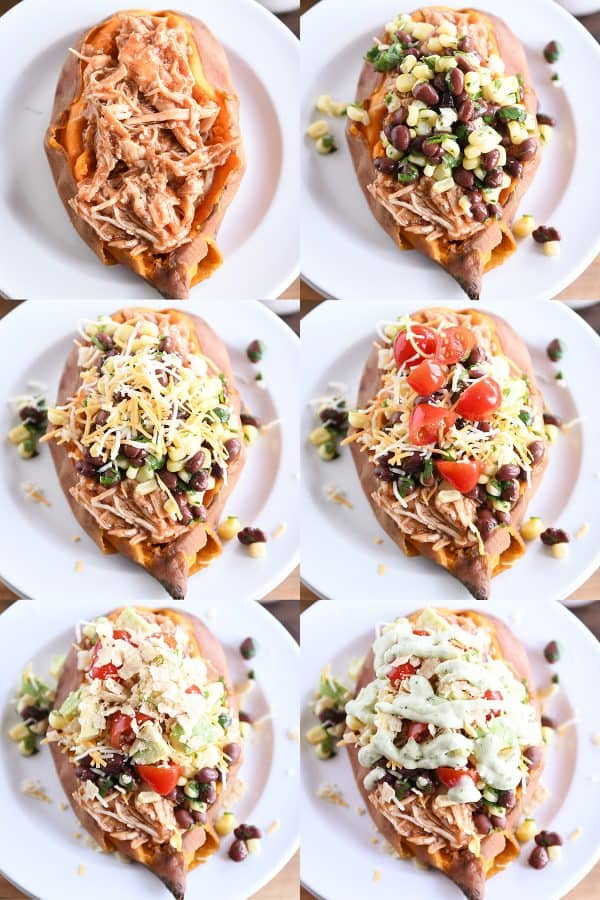 step by step loading up a sweet potato with bbq chicken and toppings