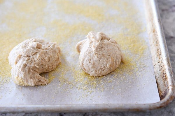 ragged balls of english muffin dough