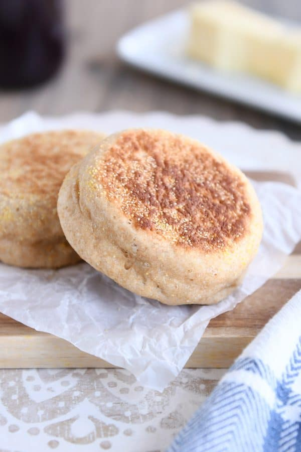 easy homemade english muffins on parchment paper