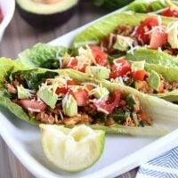 veggie turkey taco lettuce wraps on white tray