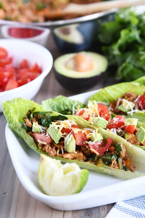 veggie turkey taco lettuce wraps on white tray