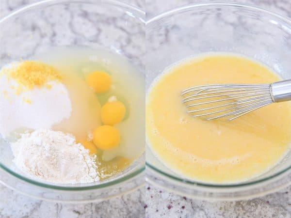 mixing eggs and sugar and flour together for lemon curd
