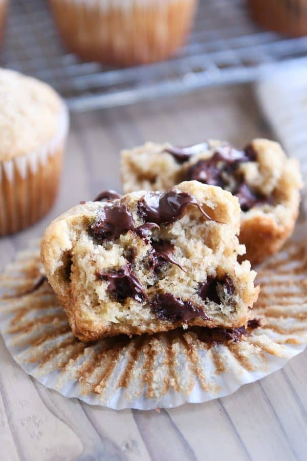 banana muffin with chocolate chips unwrapped and split in half