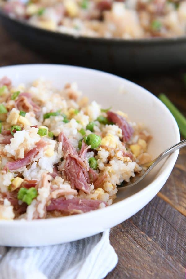 close up of easy ham fried rice