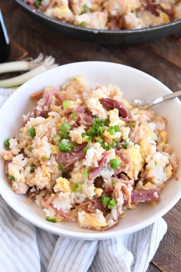 easy ham fried rice in white bowl with spoon