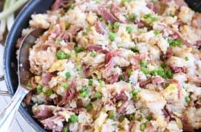 skillet full of easy ham fried rice