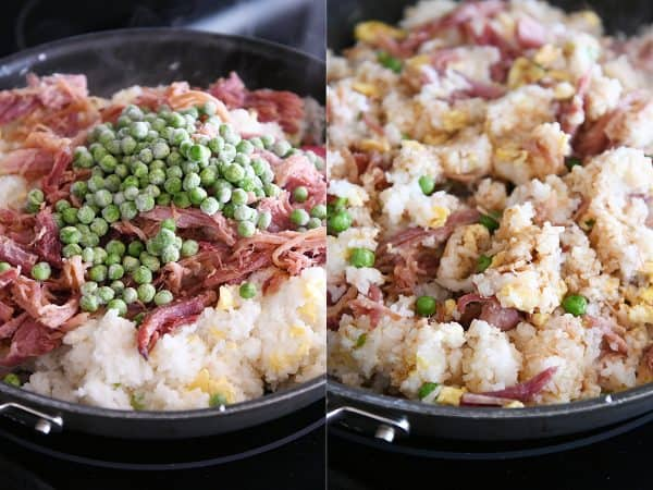 adding ham and peas to easy ham fried rice