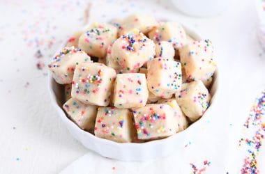 baked funfetti shortbread bites in white bowl