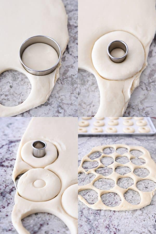 cutting out homemade donuts with donut cutter