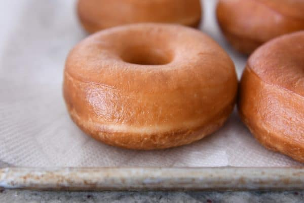 homemade glazed donuts on paper towel lined baking sheet