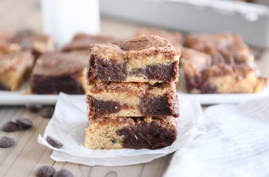 snickerdoodle brookie bars stacked on top of each other