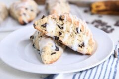 two banana bread scones on white plate