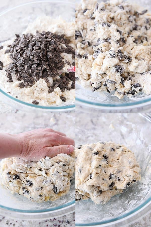 adding chocolate chunks and mixing scone batter