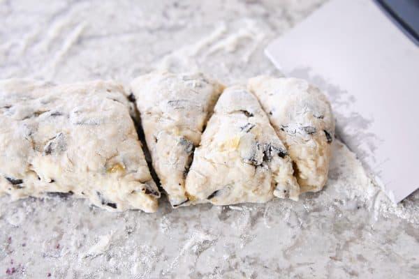 cutting scone dough into triangles