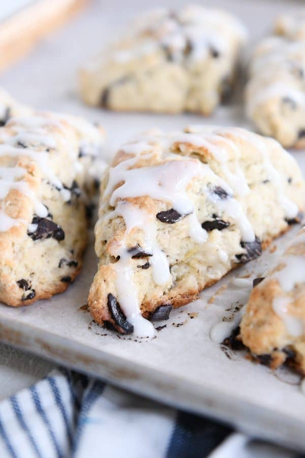 several chocolate chip banana bread scones on baking sheet