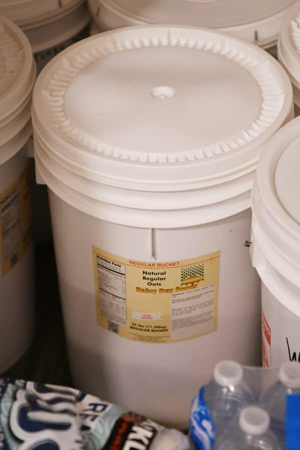 food storage in white 5 gallon bucket