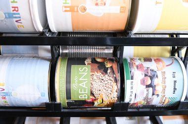 shelf reliance food storage shelf with dried beans