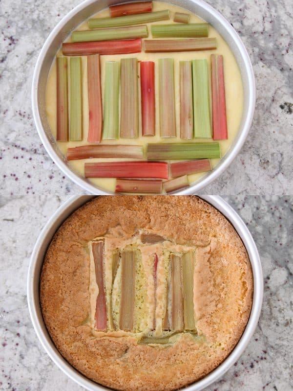 baked and unbaked rhubarb custard cake