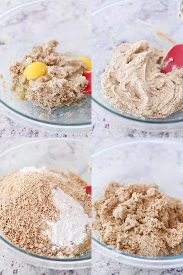 mixing up graham cookie dough batter