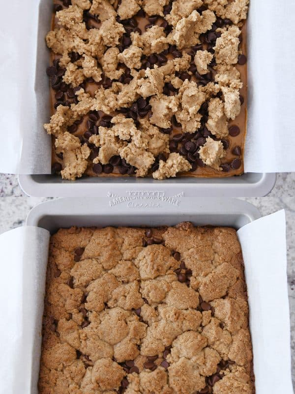 baked and unbaked pan of cookie bars