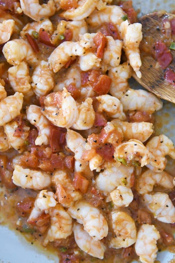 shrimp and tomato mixture for tacos in skillet
