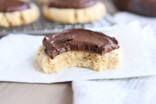 Soft Peanut Butter Sugar Cookies with Chocolate Frosting {No Rolling or Cutting Out}