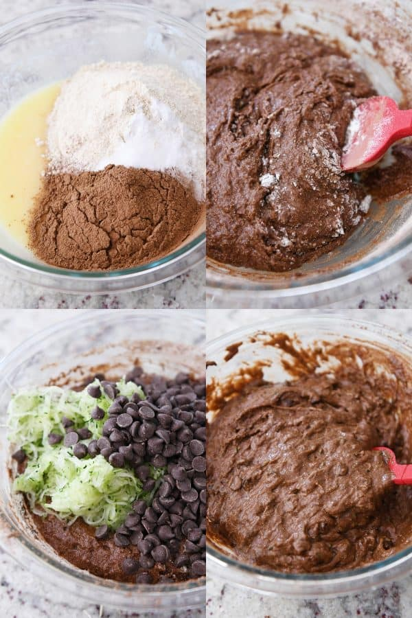 batter ingredients in glass bowl for chocolate zucchini muffins