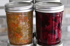 jar of pickled relish next to jar of pickled beets