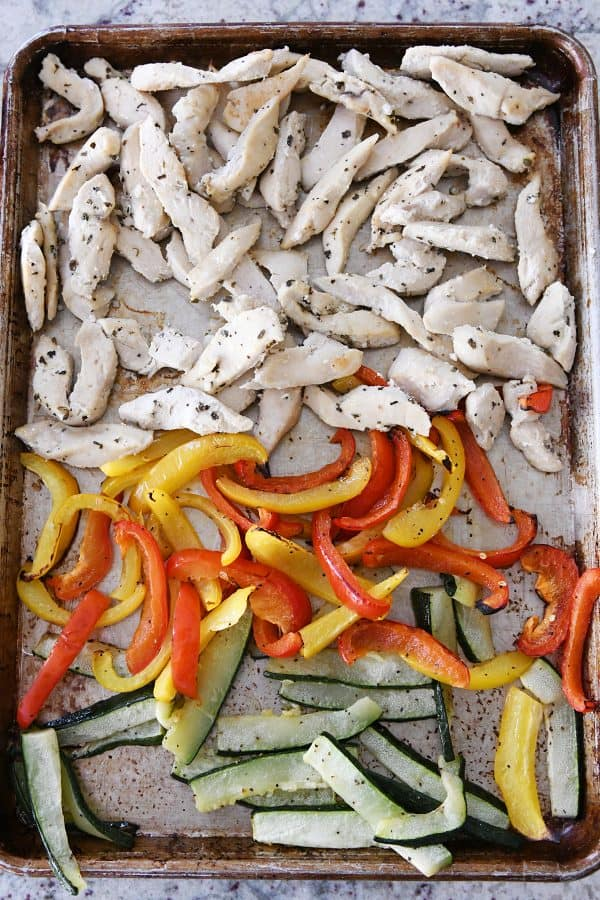 roasted veggies and chicken on sheet pan