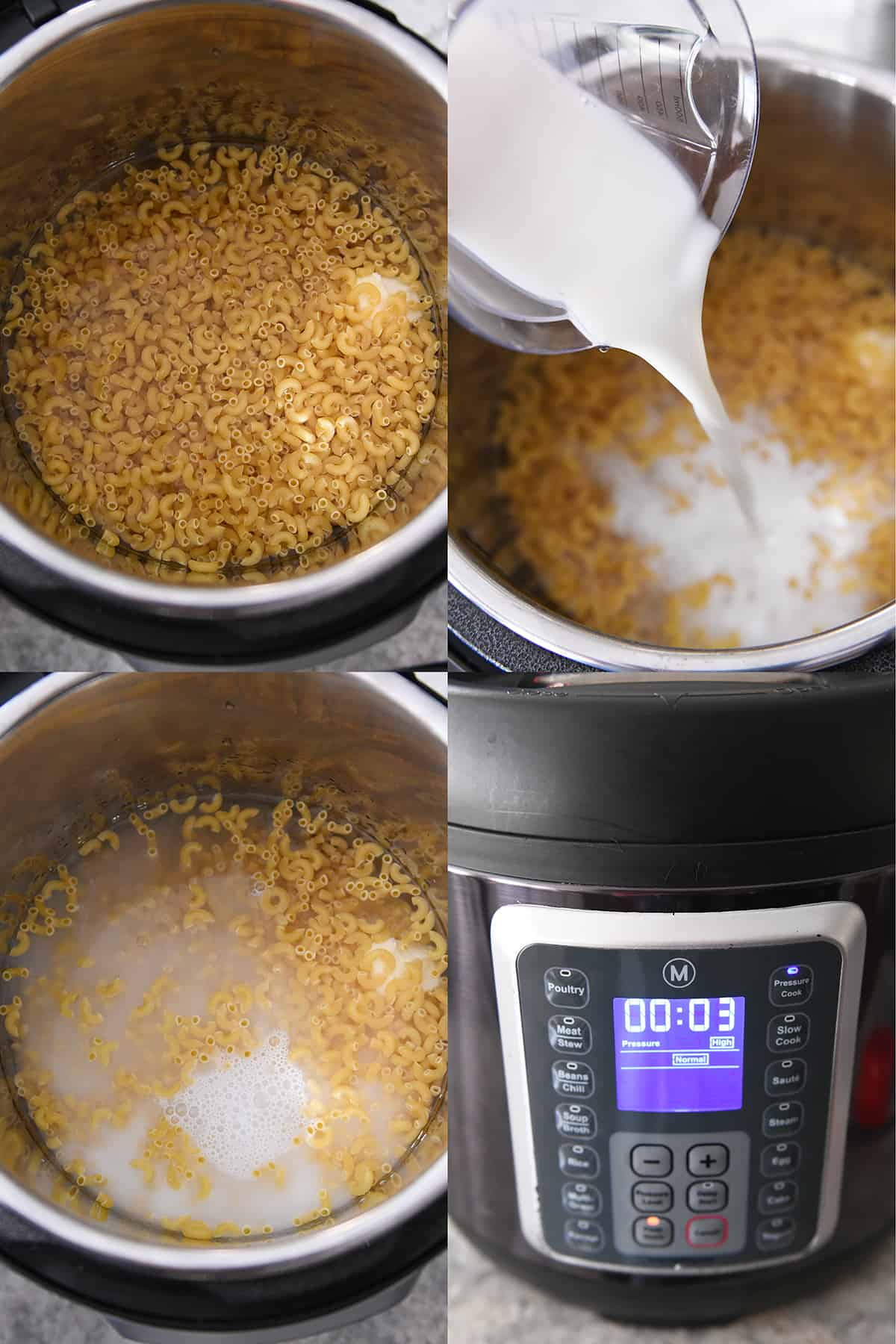 adding milk to pressure cooker with macaroni and setting cook time for three minutes