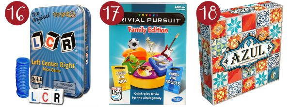 lcr game, trivial pursuit, azul game