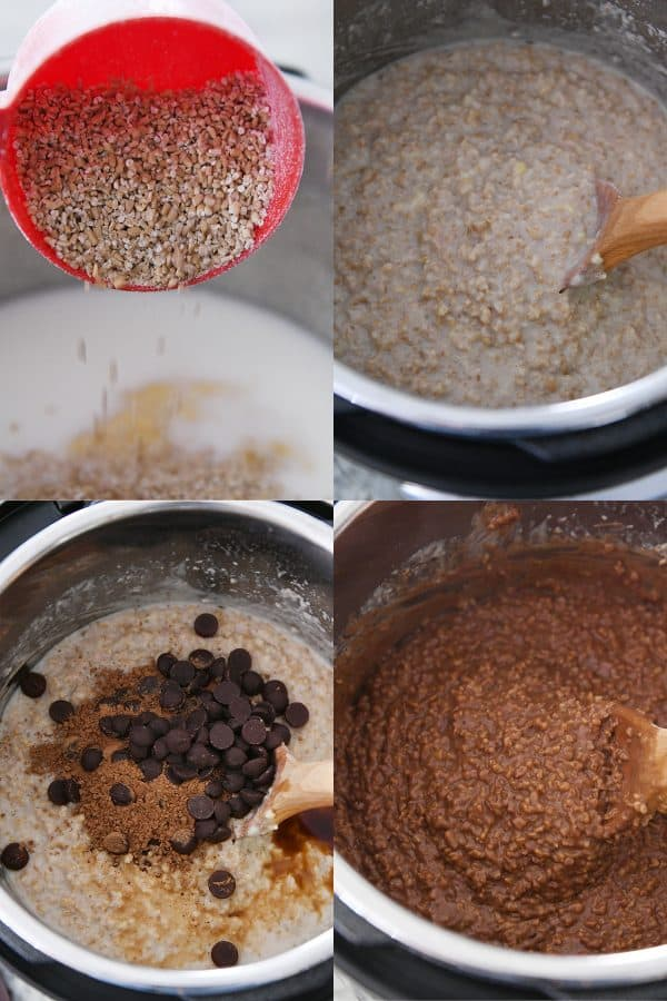 pouring steel cut oats into instant pot, stirring oatmeal, adding chocolate to oatmeal