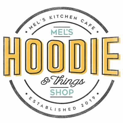 mel's hoodie shop logo