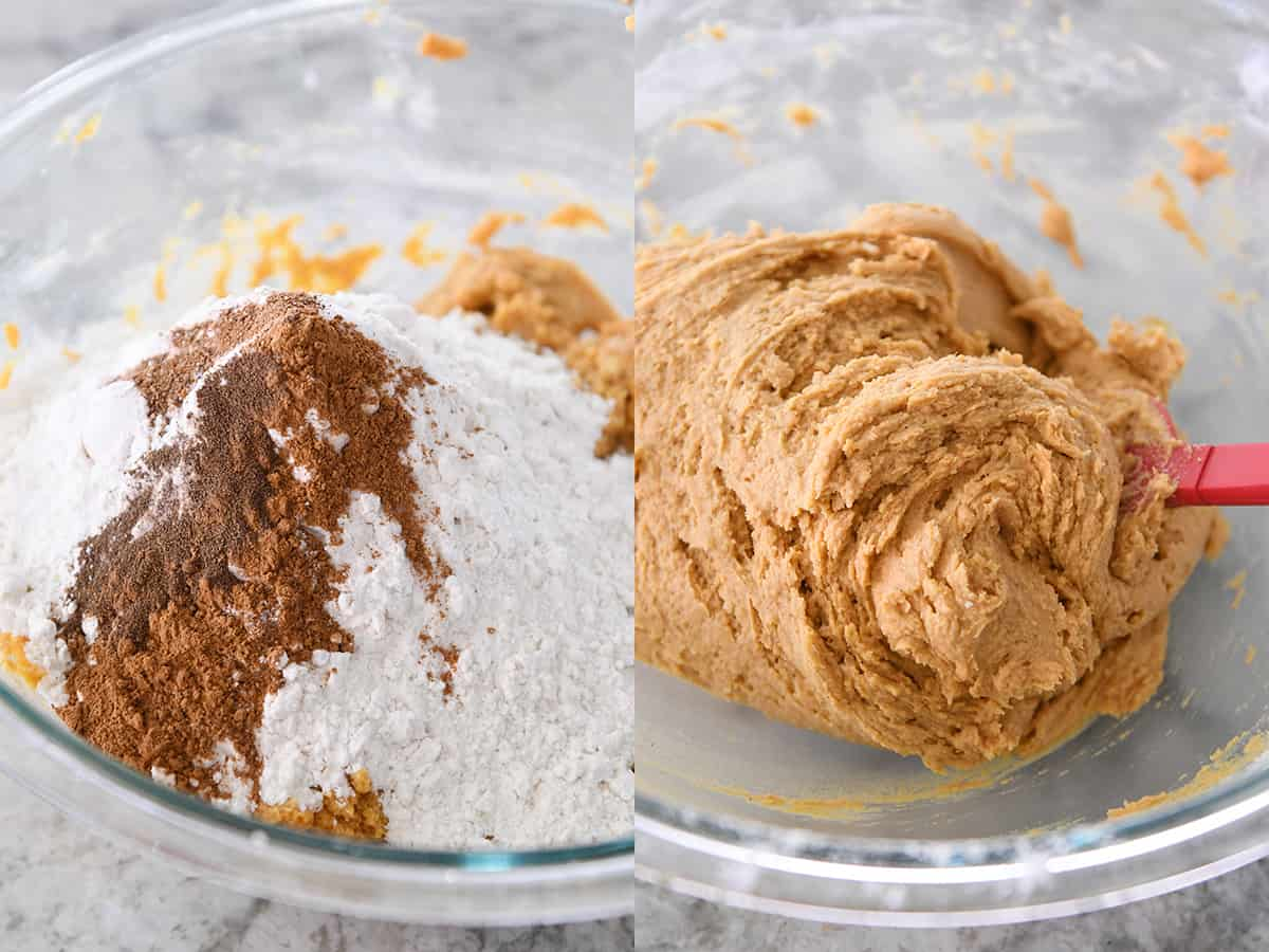 adding dry ingredients to pumpkin snickerdoodle batter