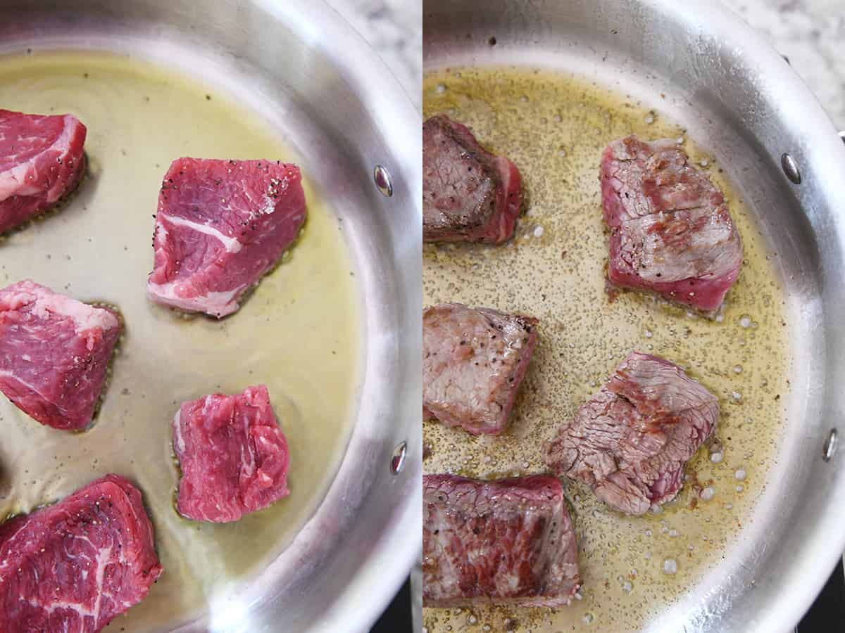 browning beef in hot oil in skillet