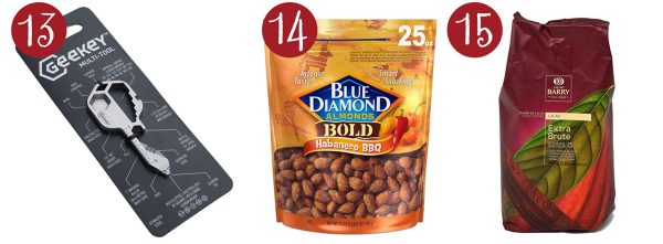 geekey multi tool, habanero bbq almonds, extra brute cocoa powder