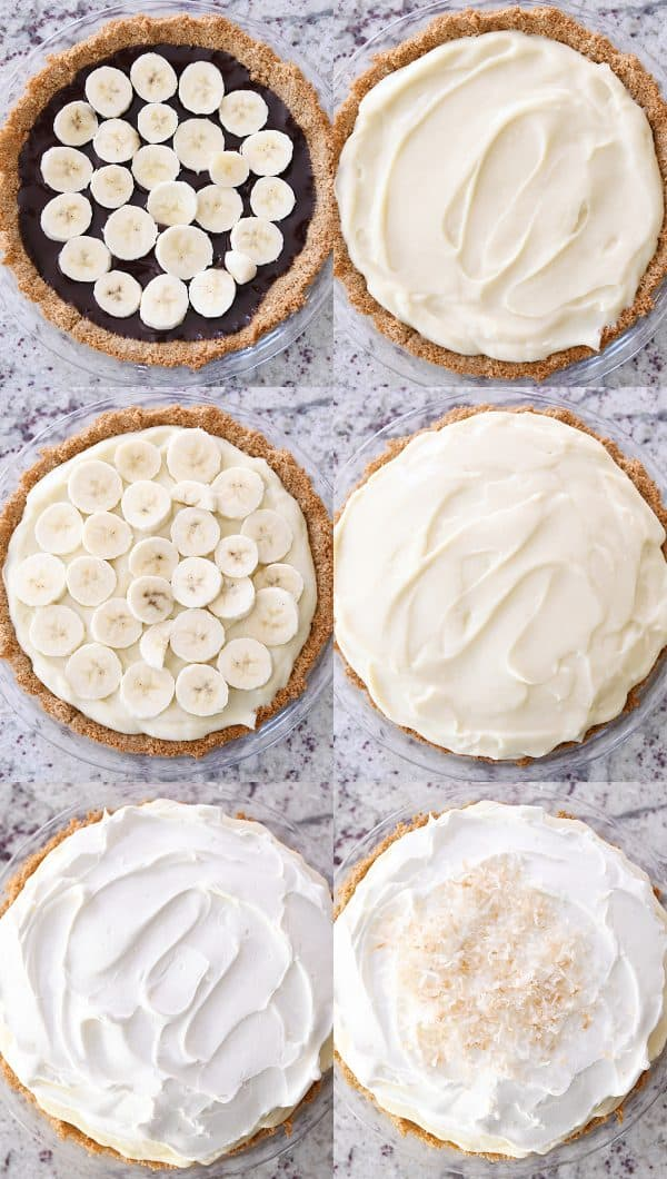 assembly of banana coconut cream pie with bananas on chocolate layer, vanilla pudding, whipped cream and coconut