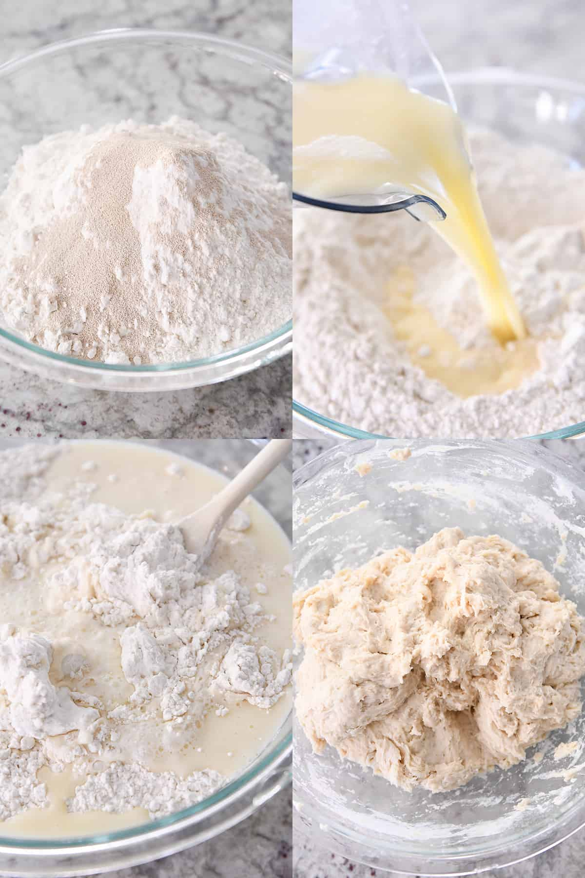 flour and yeast in glass bowl, pouring water and butter over flour, mixing ingredients to form soft dough
