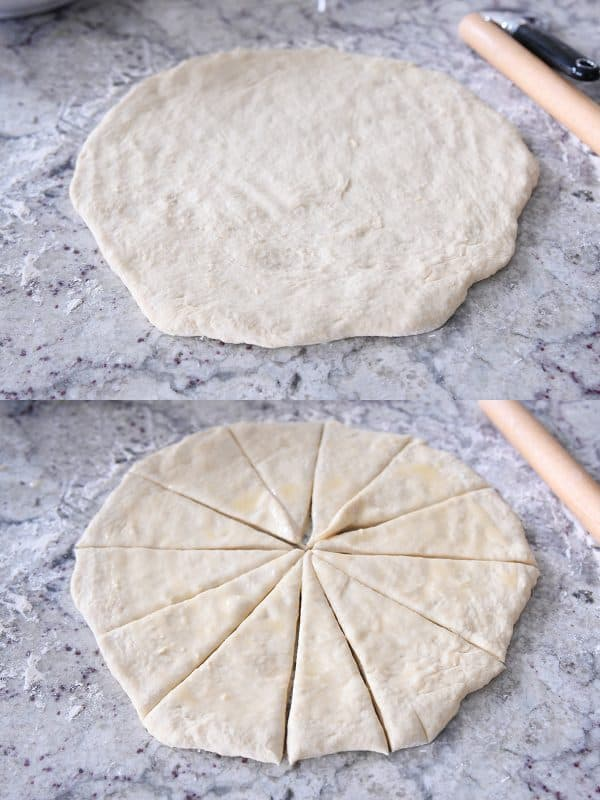 rolling dough into circle and cutting into 8 pieces on floured counter