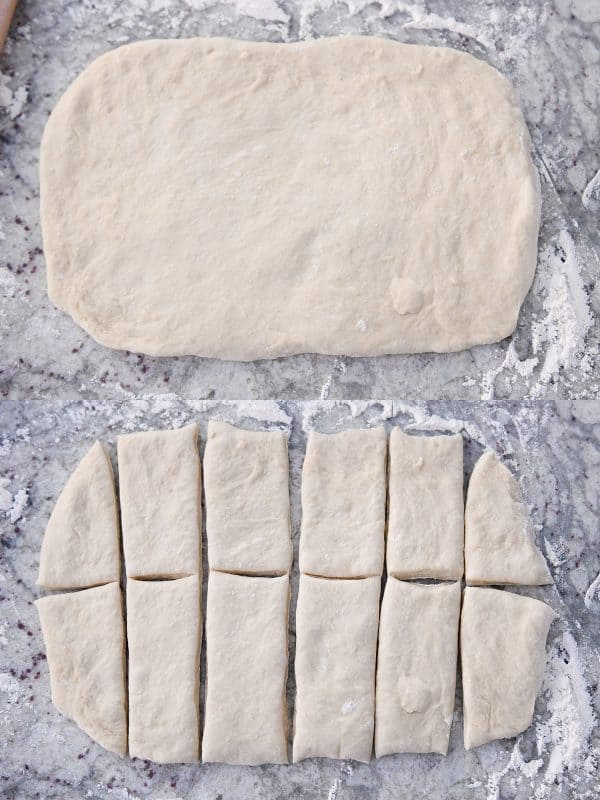 rolling dough into rectangle and cutting into 12 rectangle pieces
