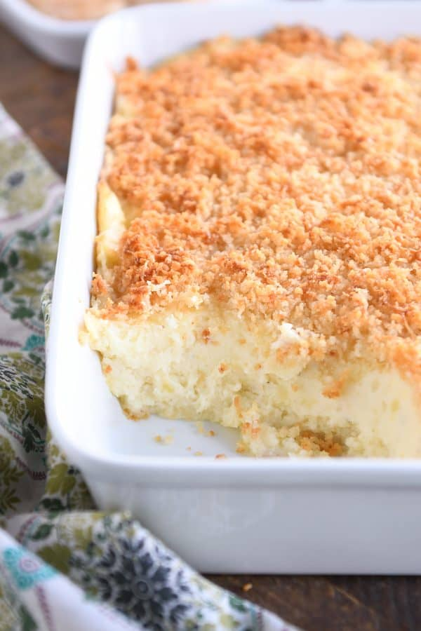 white pan with mashed potatoes and crispy topping