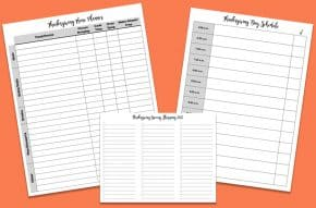 white Thanksgiving menu planners and spreadsheets on orange background