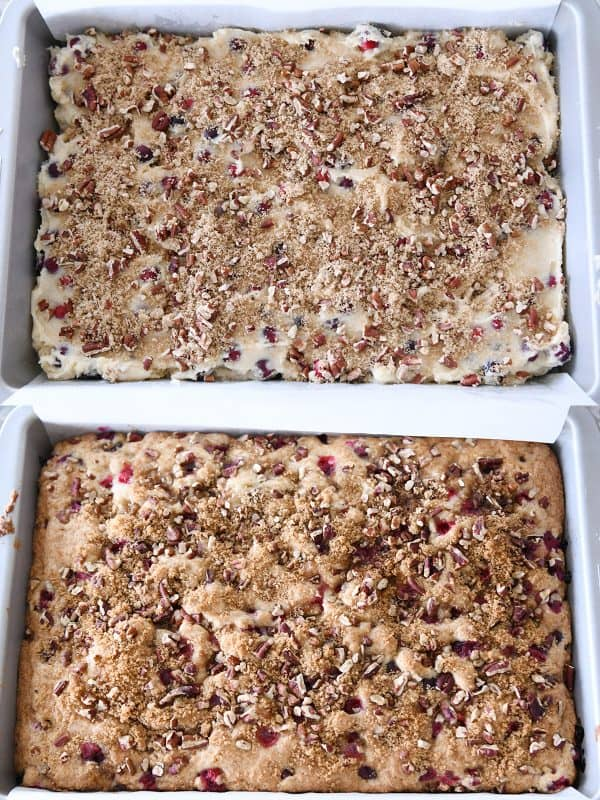 unbaked and baked cranberry coffee cake with streusl
