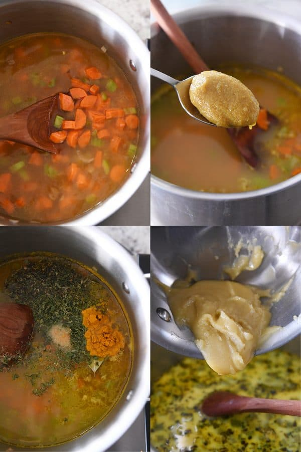 vegetables and broth in pot, adding chicken bouillon to pot, adding spices to pit, adding roux to pot