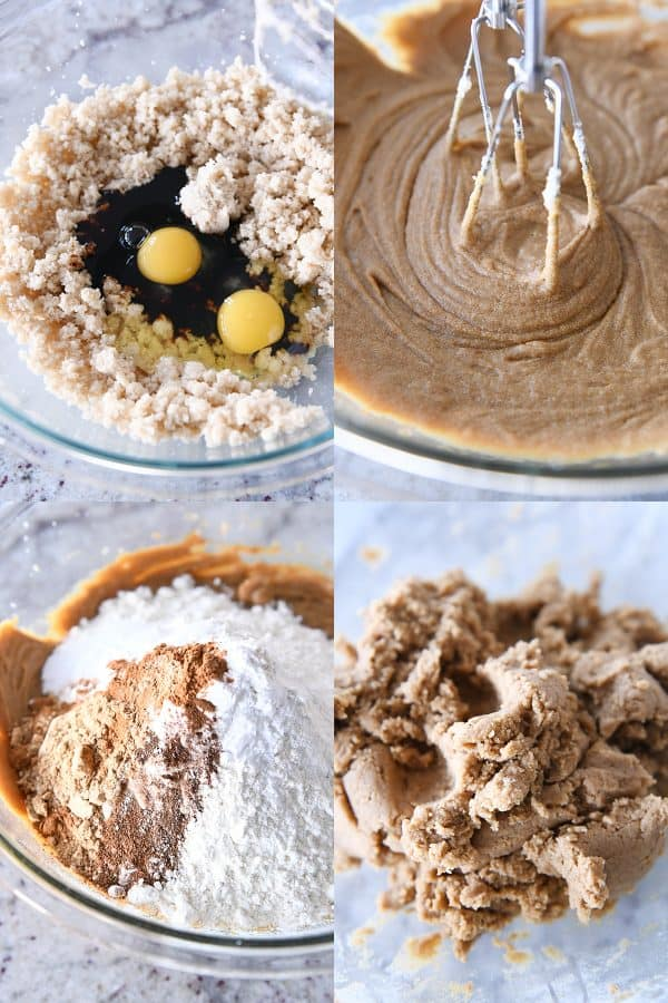 eggs, sugar and molasses in glass bowl; mixing gingerbread dough, adding spices and flour to gingerbread, gingerbread dough