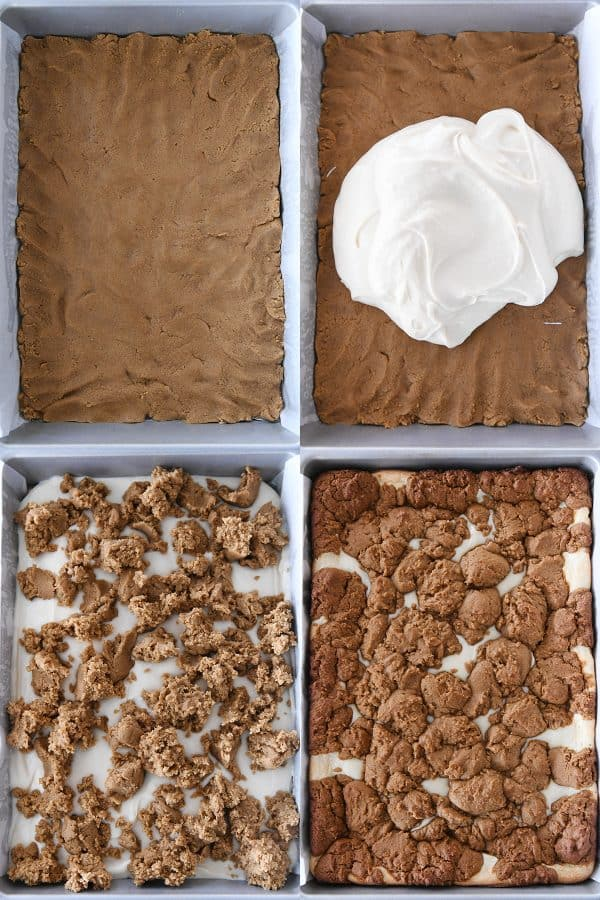 gingerbread dough pressed in 9X13-inch pan; cheesecake batter on gingerbread dough, crumbled gingerbread on cheesecake batter, baked gingerbread bars